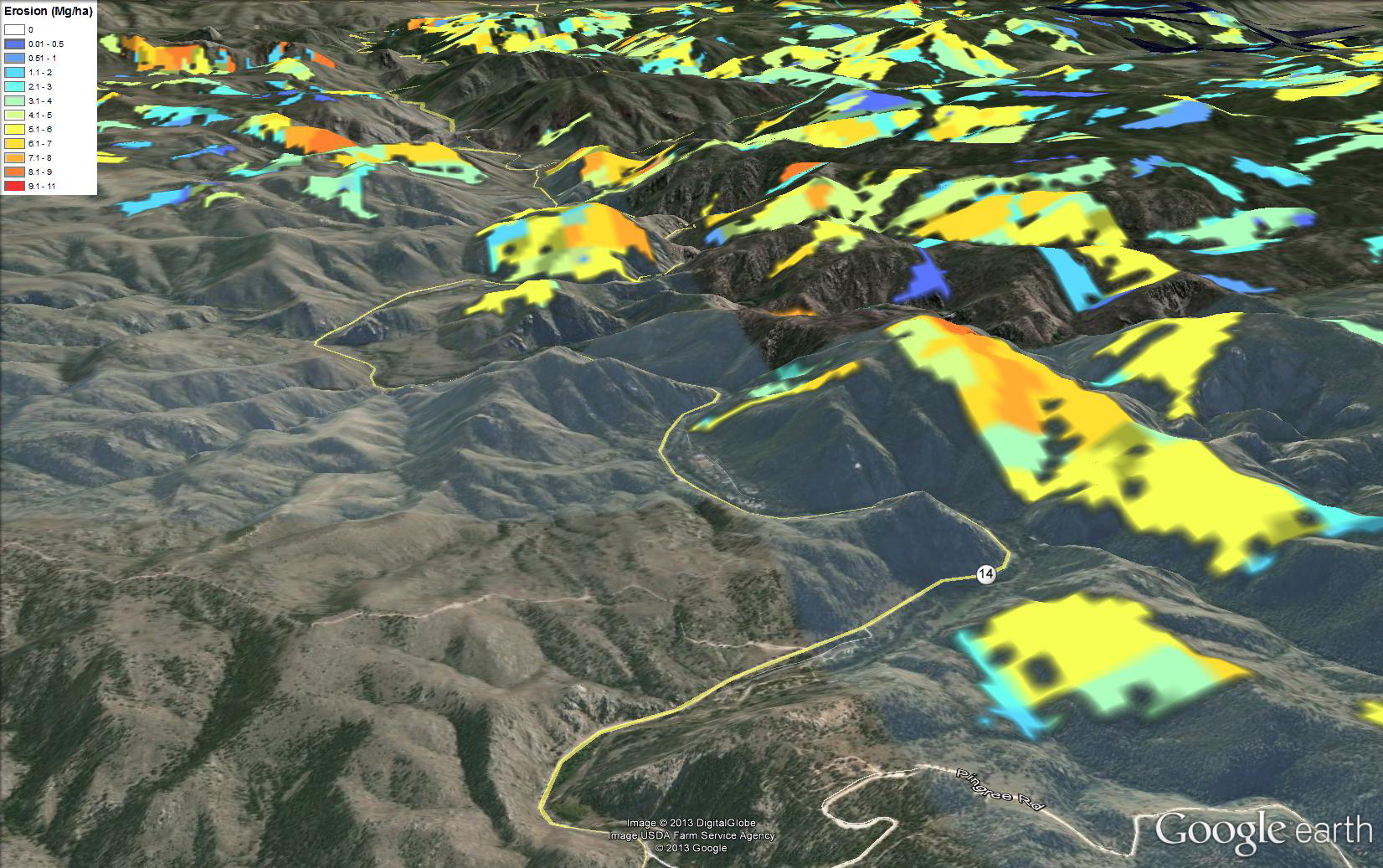 High Park Fire Map.Post Wildfire Erosion Prediction